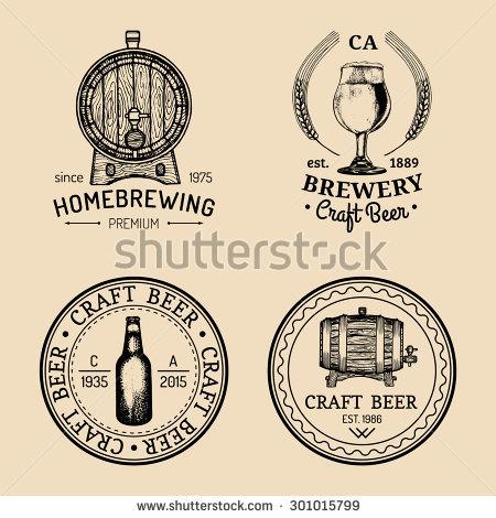 Old Brewery Logos Set Kraft Beer Stock Vector 298180703.
