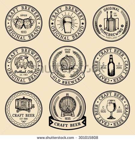 Old Brewery Logos Set Kraft Beer Stock Vector 296037155.