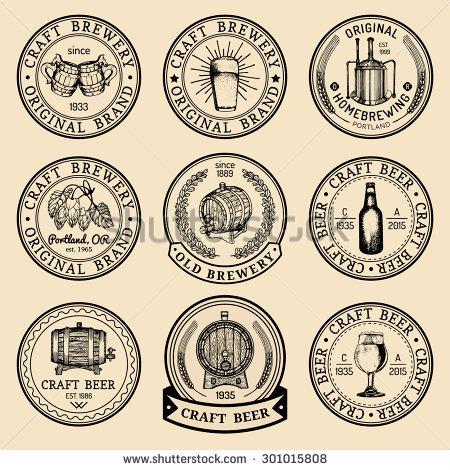 Old Brewery Logos Set Kraft Beer Stock Vector 296037155.