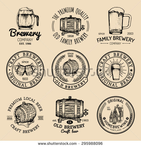 Old Brewery Logos Set Kraft Beer Stock Vector 291579563.