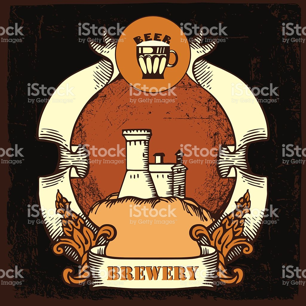Beer Label Design With Old Brewery stock vector art 468438722.