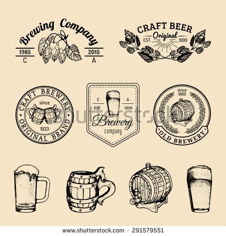 Old Brewery Logos Set Kraft Beer Stock Vector 298180643.