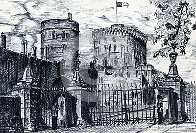 Old British Fort Stock Illustrations.