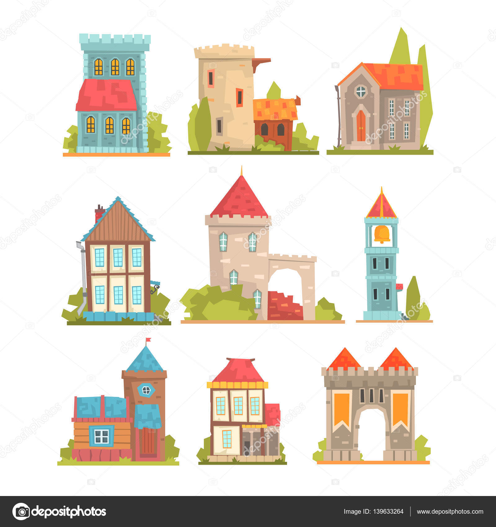 Old And Medieval Historical Buildings Set Of European Architecture.