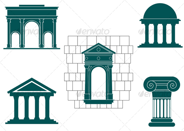 Symbols of ancient buildings.