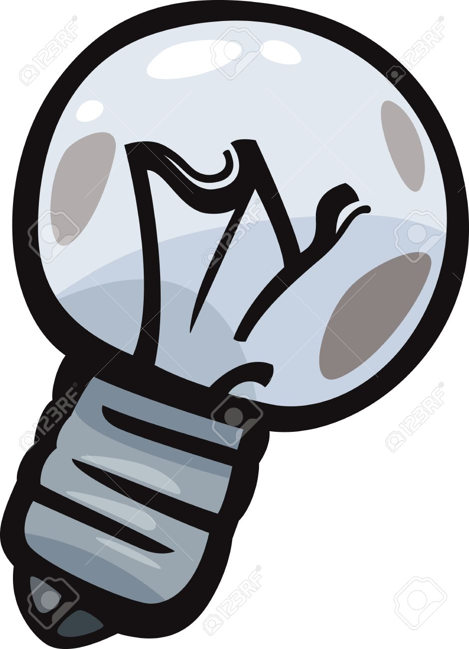 Cartoon Illustration Of Burned Out Old Bulb Clip Art Royalty Free.