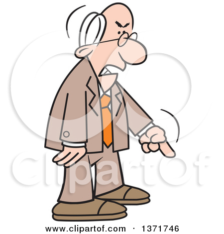 Clipart of a Cartoon Angry Old White Business Man Demanding and.