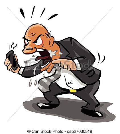 Vector Clip Art of Old Business man angry at phone csp27030518.