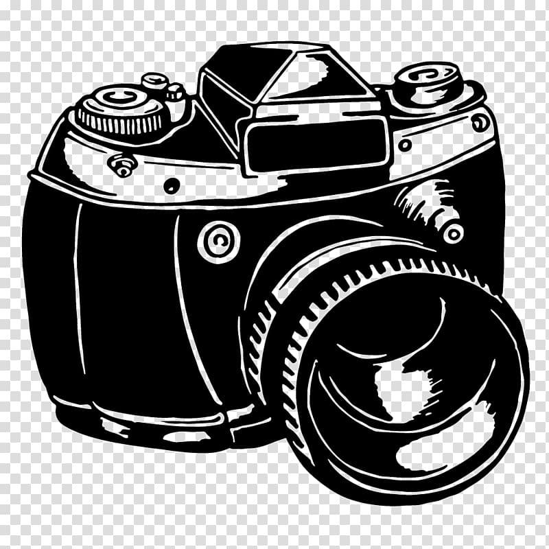 DSLR camera illustration, Camera Black and white, Hand.