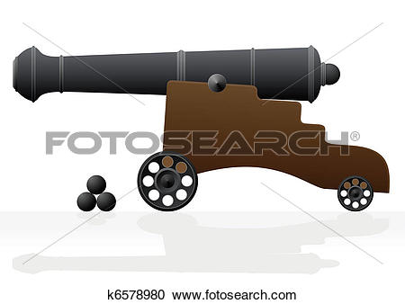 Clipart of Old cannon and the nucleus k6578980.