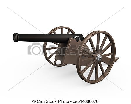 Stock Illustrations of Old Cannon Isolated.