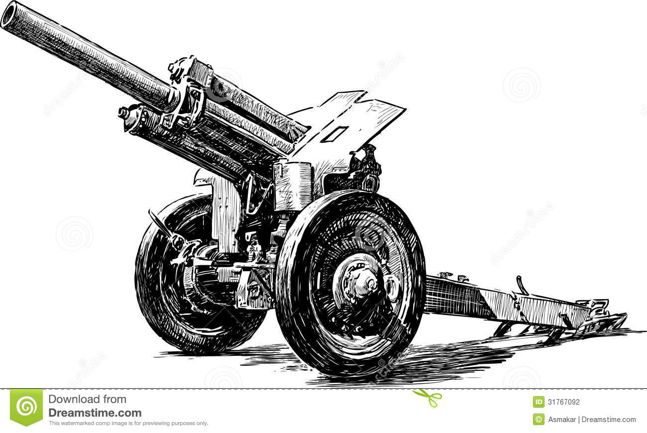 Old Artillery Gun Stock Photography.