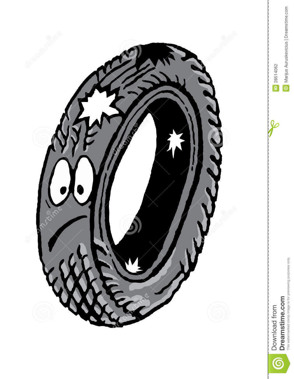 Old Car Tire Clipart Vector.