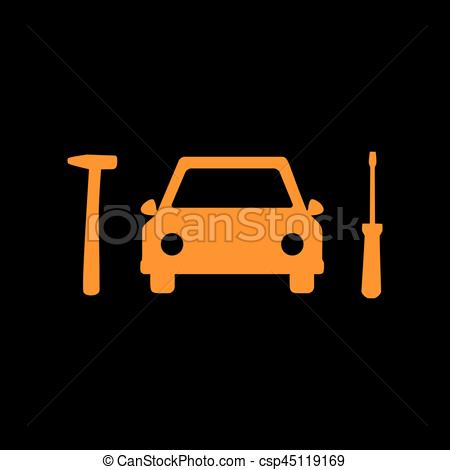 Clip Art Vector of Car tire repair service sign. Orange icon on.