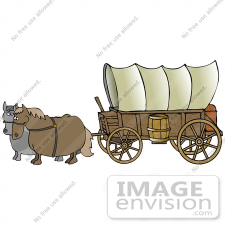Clip Art Graphic of an Old Fashioned Covered Wagon Being Pulled By.