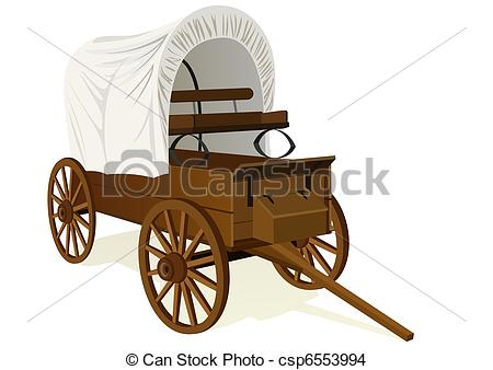 Drawing of Covered wagon.