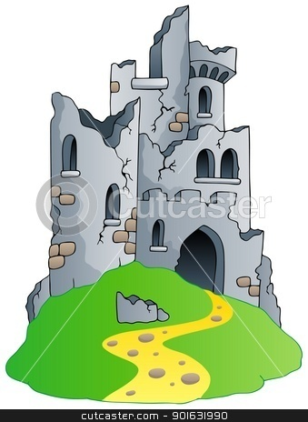 Castle ruins on hill stock vector.