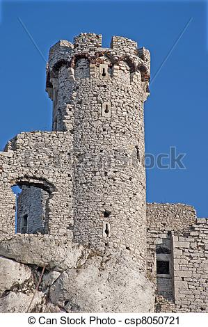 Stock Photography of Old castle tower.