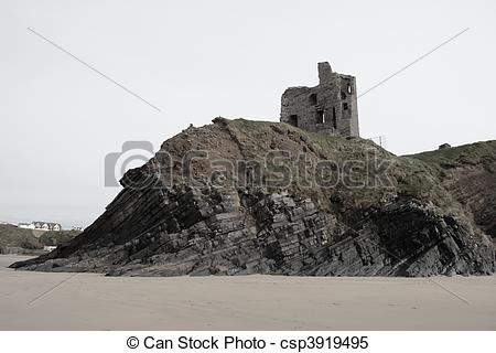 Stock Images of old castle ruin on a high rocky cliff.