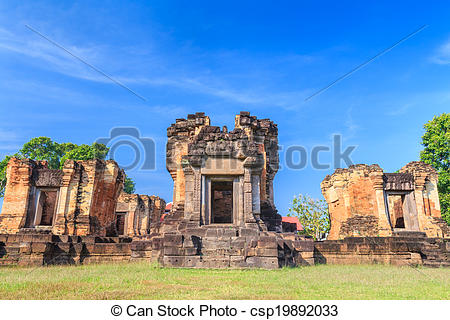 Stock Photos of The old castle rock in Thailand.