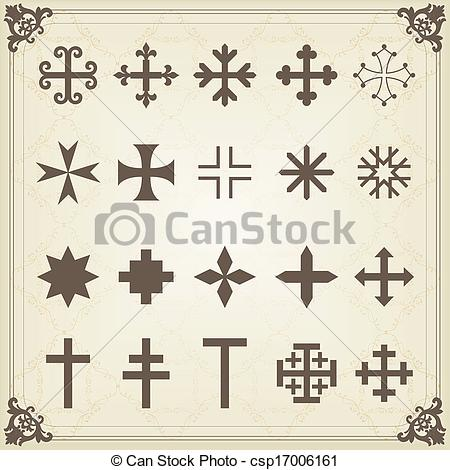 Clip Art Vector of Vintage old cemetery crosses and graveyard.