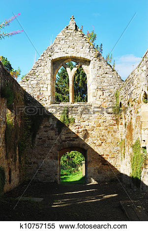 Stock Image of North interior Temple old church ruin 14th century.