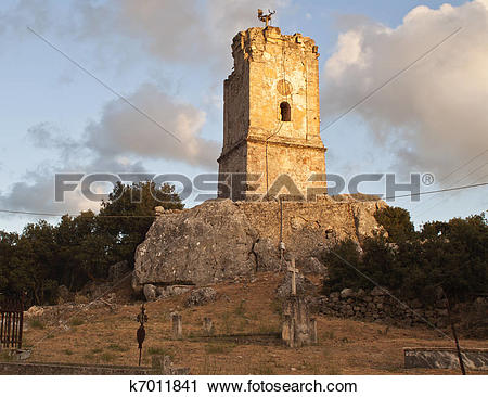 Stock Photography of Old church at Kefalonia island in Greece.