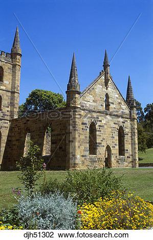 Stock Photo of Australia, Tasmania, Port Arthur, Old Church Ruins.