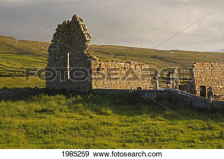 Stock Photograph of Old Church Ruins And Graveyard In The Burren.