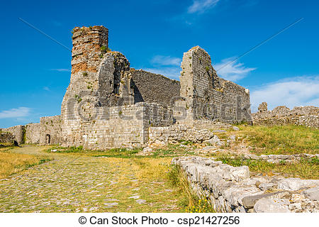 Stock Images of Old church in Rozafa castle ruins near Shkodra.