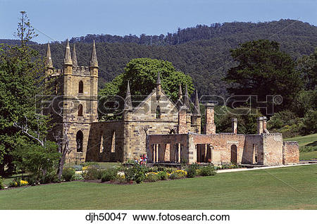 Picture of Tasmania, Port Arthur, Old Church Ruins djh50047.