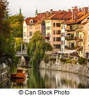 Stock Photo of Medieval facades in Ljubljana old city centre.