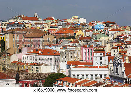 Pictures of Lisbon, Portugal. Old buildings city centre. x16579008.