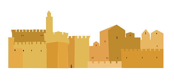 Silhouette Of The The New Jerusalem Clip Art, Vector Images.