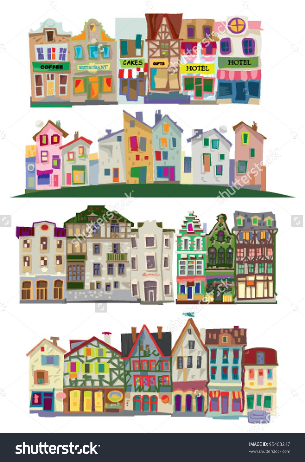 Old City Facades Big Set Cartoon Stock Vector 95403247.