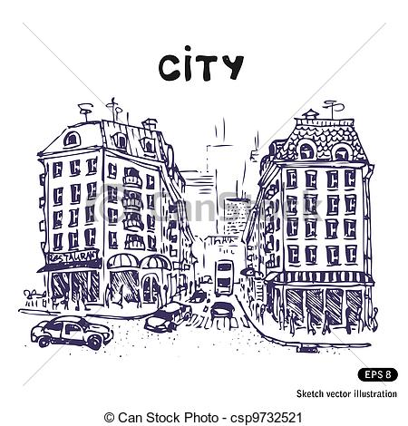Old City Street Clip Art.