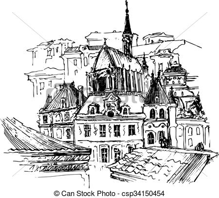Clipart Vector of Old city, vector illustration for your design.