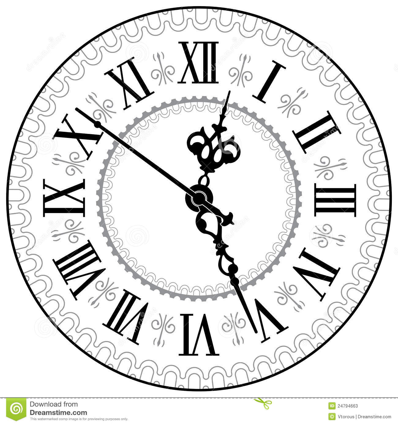 Old Clock Clip Art Black and White.