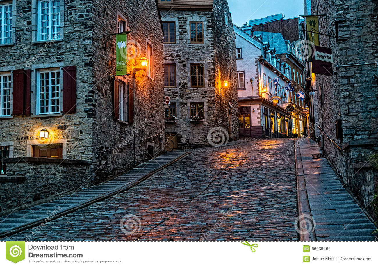Cobblestone Streets In Old Quebec Editorial Image.