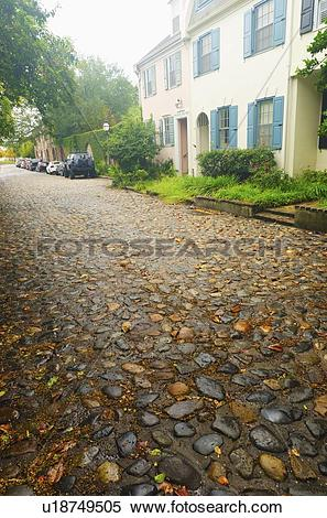 Stock Image of USA, South Carolina, Charleston, Old cobblestone.