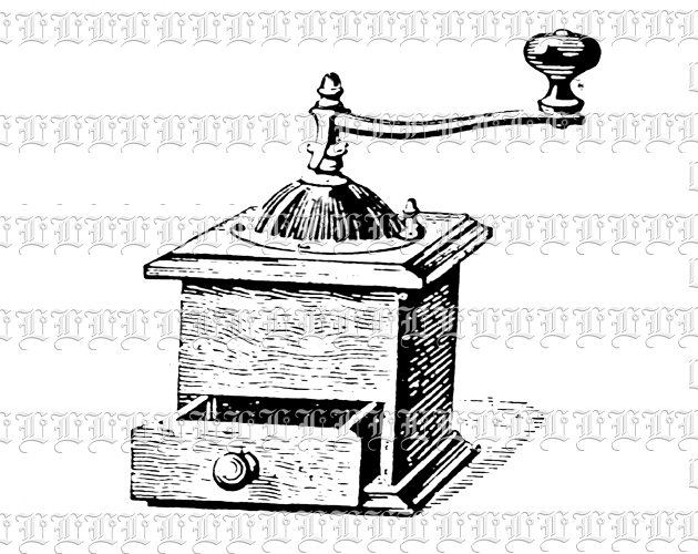 Antique Coffee Grinder Vintage Clip Art Illustration High.