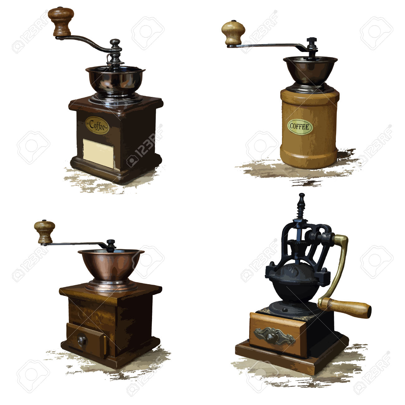 Vintage Style Of Old Coffee Grinder Vector Icons Royalty Free.