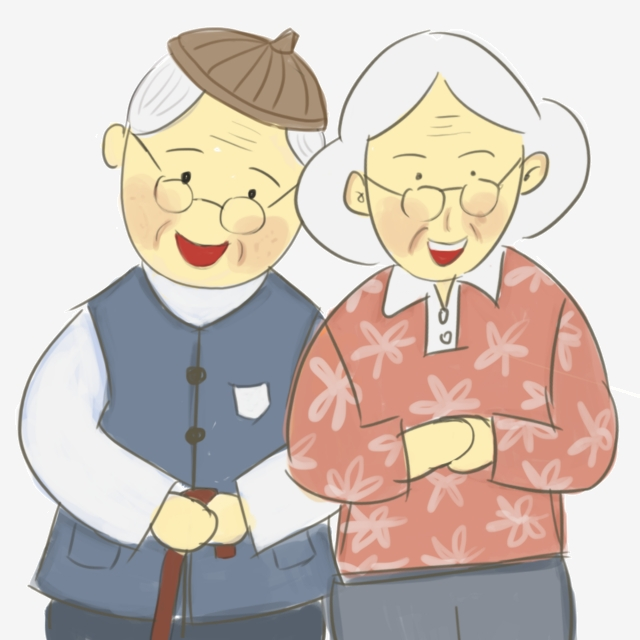 Old Fashioned Old Couple, Cartoon, Husband And Wife Free.