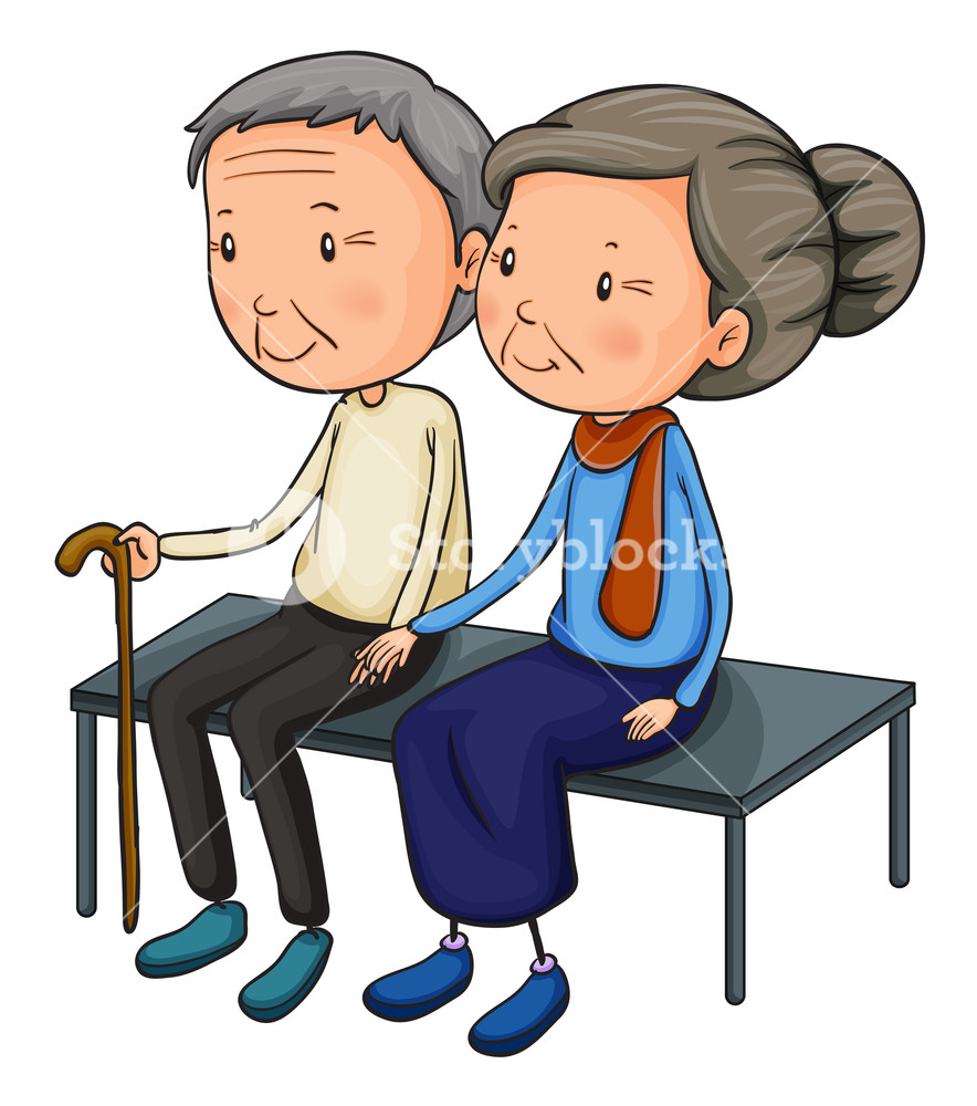 Illustration of an old couple dating on a white background.