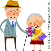 Old couple clipart #18