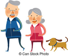 Vector of The view of old couple is standing csp20227081.