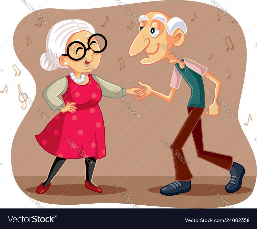 Funny elderly couple dancing cartoon.