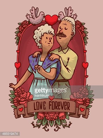 Frame Happy old couple, dancing Clipart Image.