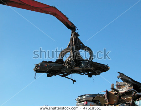 Salvage yard crane clipart black and white with car on the end.