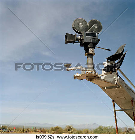 Stock Images of Old fashioned movie camera on crane is099i52s.